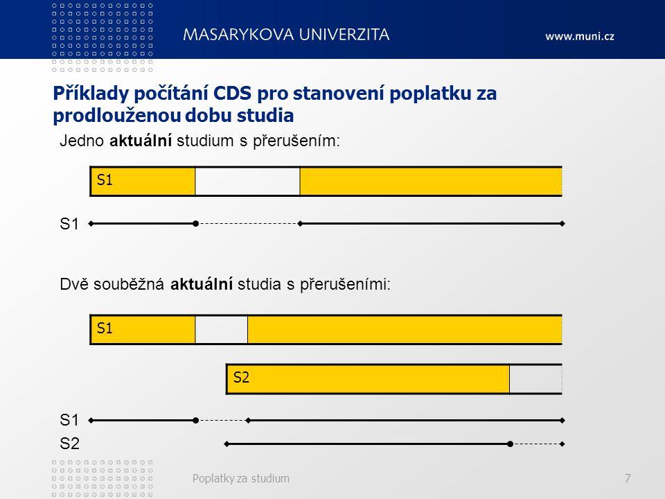 Poplatky za studium7 Příklady počítání CDS pro stanovení poplatku za prodlouženou dobu studia S1 Jedno aktuální studium s přerušením: S1 Dvě souběžná