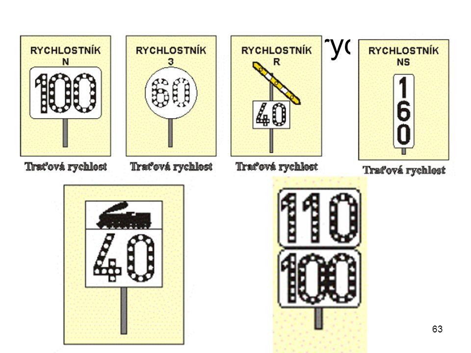 63 Návěsti pro traťovou rychlost