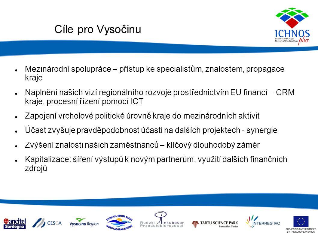 Cíle pro Vysočinu Mezinárodní spolupráce – přístup ke specialistům, znalostem, propagace kraje Naplnění našich vizí regionálního rozvoje prostřednictvím EU financí – CRM kraje, procesní řízení pomocí ICT Zapojení vrcholové politické úrovně kraje do mezinárodních aktivit Účast zvyšuje pravděpodobnost účasti na dalších projektech - synergie Zvýšení znalosti našich zaměstnanců – klíčový dlouhodobý záměr Kapitalizace: šíření výstupů k novým partnerům, využití dalších finančních zdrojů