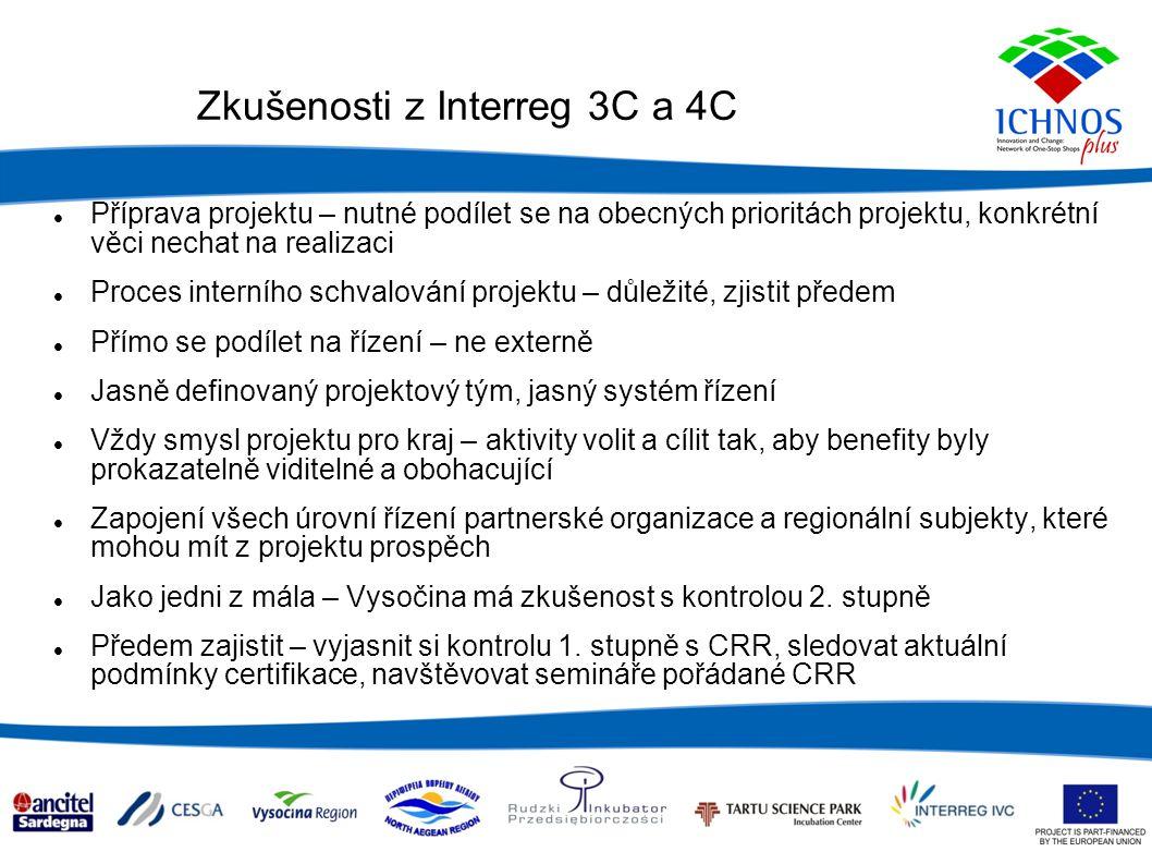 Zkušenosti z Interreg 3C a 4C Příprava projektu – nutné podílet se na obecných prioritách projektu, konkrétní věci nechat na realizaci Proces interního schvalování projektu – důležité, zjistit předem Přímo se podílet na řízení – ne externě Jasně definovaný projektový tým, jasný systém řízení Vždy smysl projektu pro kraj – aktivity volit a cílit tak, aby benefity byly prokazatelně viditelné a obohacující Zapojení všech úrovní řízení partnerské organizace a regionální subjekty, které mohou mít z projektu prospěch Jako jedni z mála – Vysočina má zkušenost s kontrolou 2.