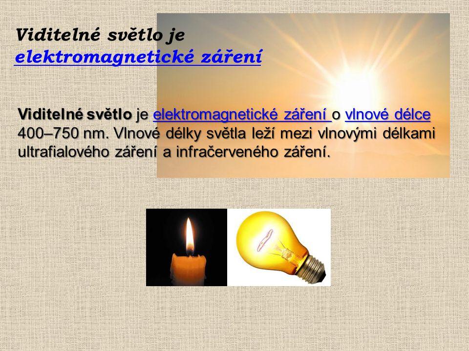 Viditelné světlo je elektromagnetické záření elektromagnetické záření Viditelné světlo je elektromagnetické záření o vlnové délce 400–750 nm.