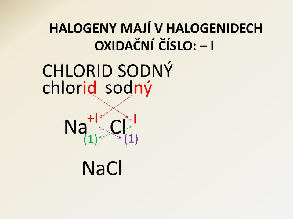 CHLORID VÁPENATÝ chlorid Cl vápenatý Ca 2 (1) CaCl 2 -I +II
