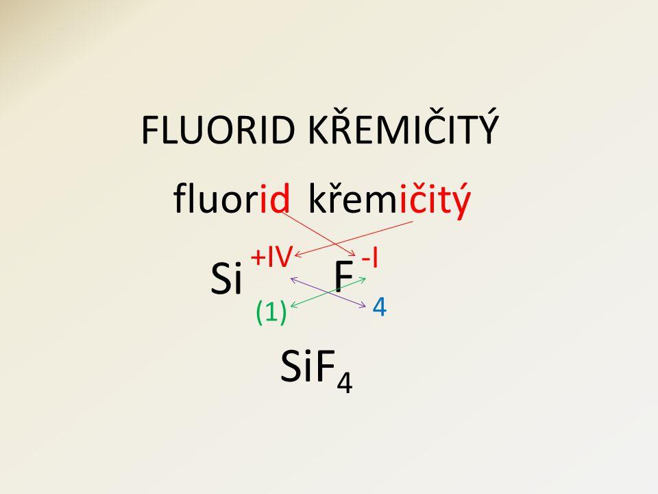 FLUORID KŘEMIČITÝ fluorid F křemičitý Si 4 (1) SiF 4 -I +IV