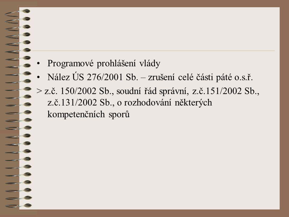Programové prohlášení vlády Nález ÚS 276/2001 Sb. – zrušení celé části páté o.s.ř. > z.č. 150/2002 Sb., soudní řád správní, z.č.151/2002 Sb., z.č.131/