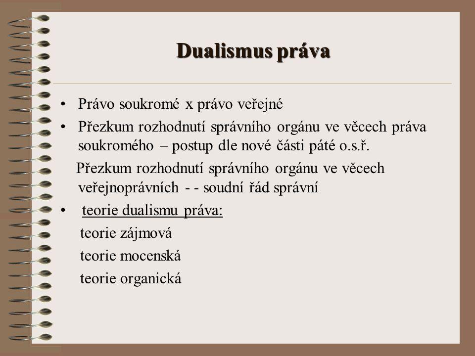 Dualismus práva Právo soukromé x právo veřejné Přezkum rozhodnutí správního orgánu ve věcech práva soukromého – postup dle nové části páté o.s.ř. Přez
