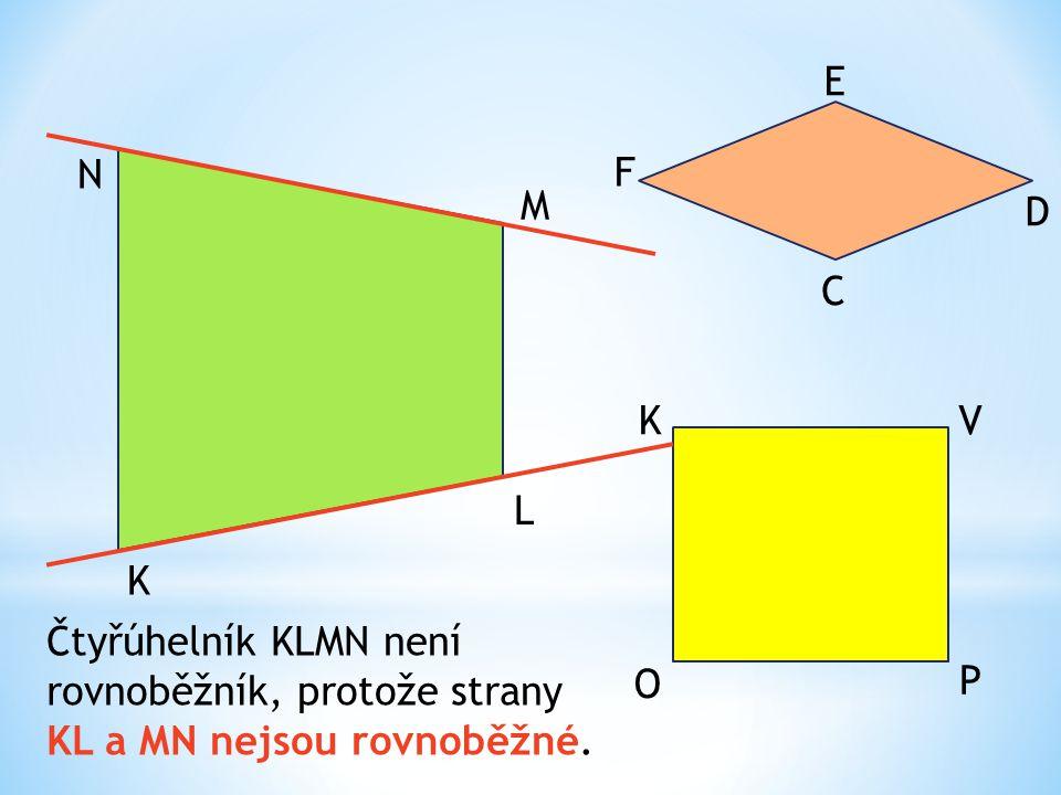 K L M N O P VK C D E F Čtyřúhelník KLMN není rovnoběžník, protože strany KL a MN nejsou rovnoběžné.