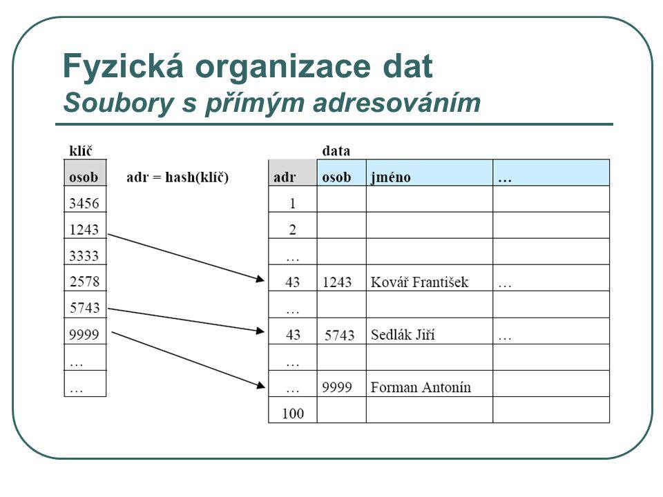 Fyzická organizace dat Soubory s přímým adresováním