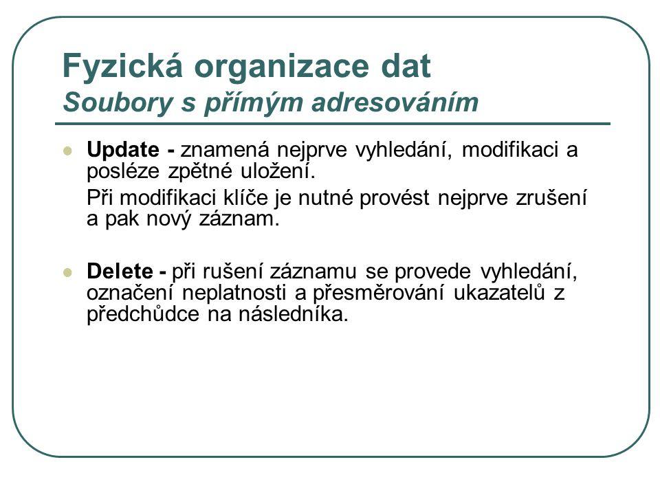 Fyzická organizace dat Soubory s přímým adresováním Update - znamená nejprve vyhledání, modifikaci a posléze zpětné uložení. Při modifikaci klíče je n