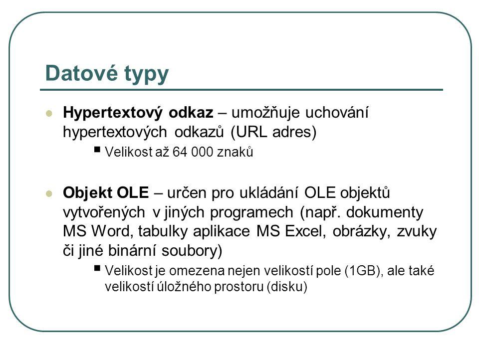 Datové typy Hypertextový odkaz – umožňuje uchování hypertextových odkazů (URL adres)  Velikost až 64 000 znaků Objekt OLE – určen pro ukládání OLE objektů vytvořených v jiných programech (např.
