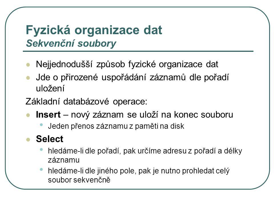 Fyzická organizace dat Sekvenční soubory Nejjednodušší způsob fyzické organizace dat Jde o přirozené uspořádání záznamů dle pořadí uložení Základní databázové operace: Insert – nový záznam se uloží na konec souboru Jeden přenos záznamu z paměti na disk Select hledáme-li dle pořadí, pak určíme adresu z pořadí a délky záznamu hledáme-li dle jiného pole, pak je nutno prohledat celý soubor sekvenčně