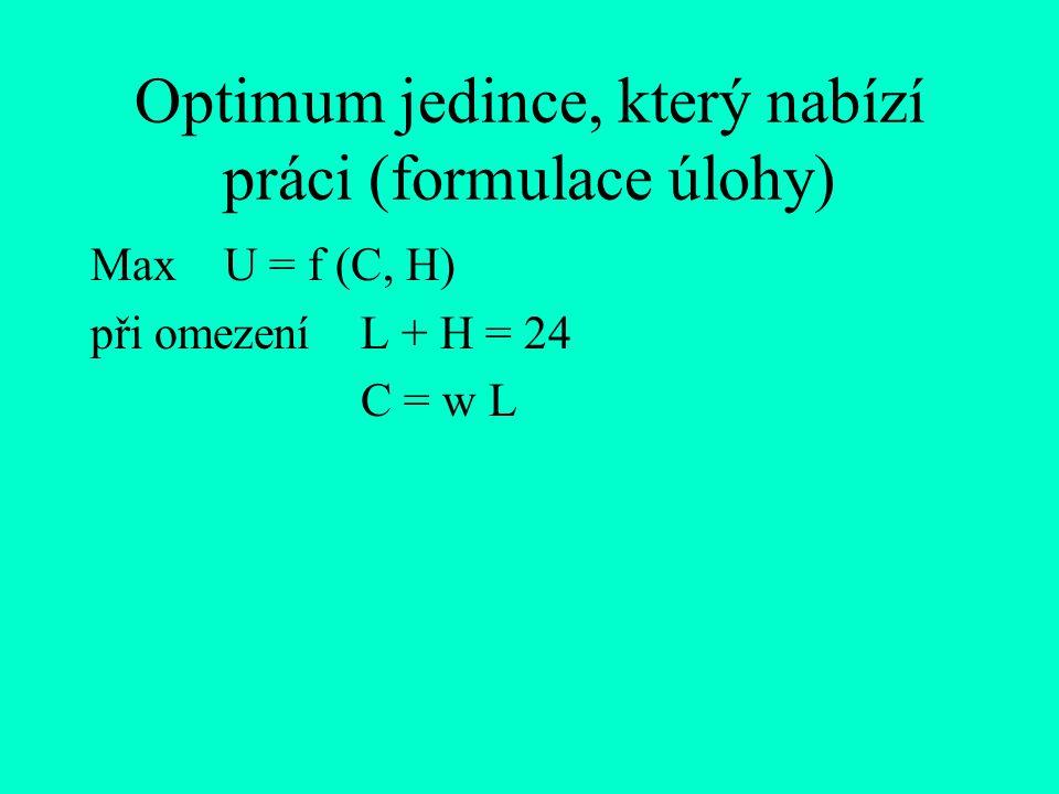 Optimum jedince, který nabízí práci (formulace úlohy) Max U = f (C, H) při omezení L + H = 24 C = w L