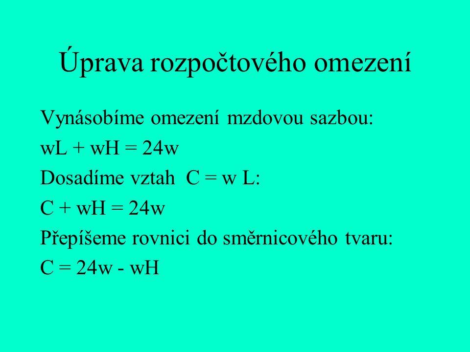 Úprava rozpočtového omezení Vynásobíme omezení mzdovou sazbou: wL + wH = 24w Dosadíme vztah C = w L: C + wH = 24w Přepíšeme rovnici do směrnicového tv
