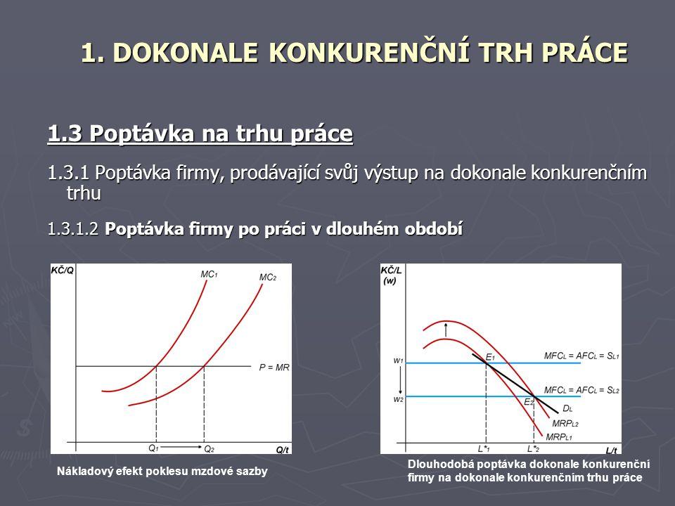 1.3 Poptávka na trhu práce 1.3.1 Poptávka firmy, prodávající svůj výstup na dokonale konkurenčním trhu 1.3.1.2 Poptávka firmy po práci v dlouhém obdob