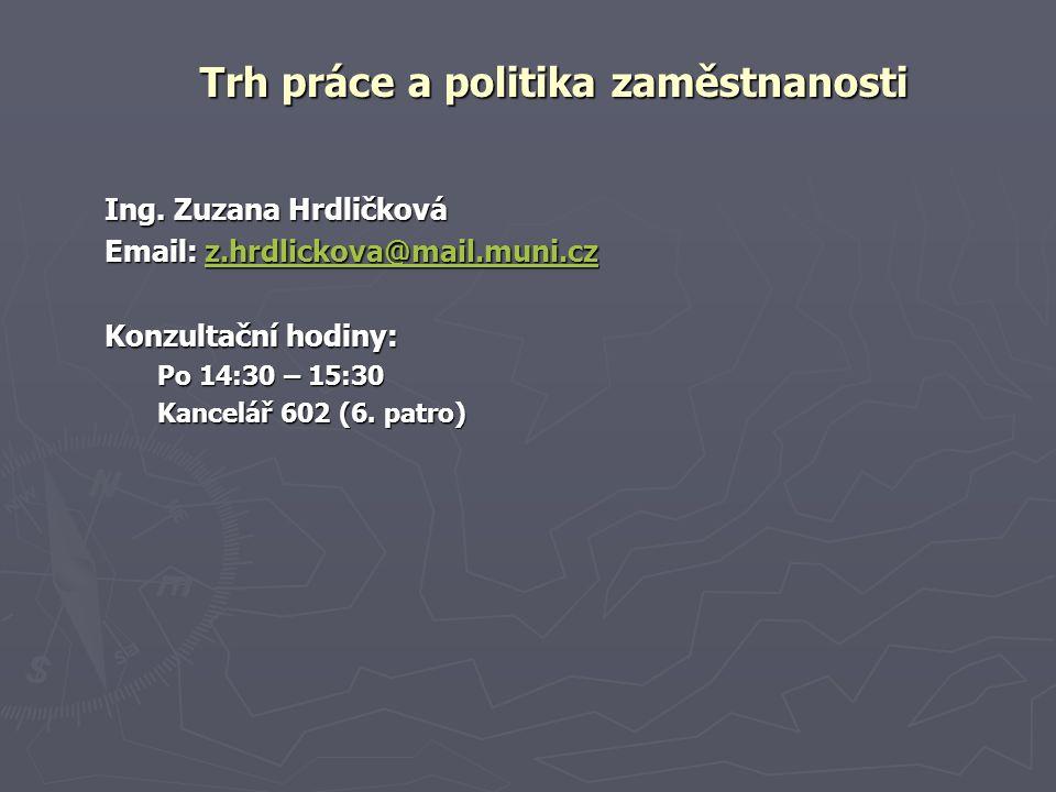 Ing. Zuzana Hrdličková Email: z.hrdlickova@mail.muni.cz z.hrdlickova@mail.muni.cz Konzultační hodiny: Po 14:30 – 15:30 Kancelář 602 (6. patro) Trh prá