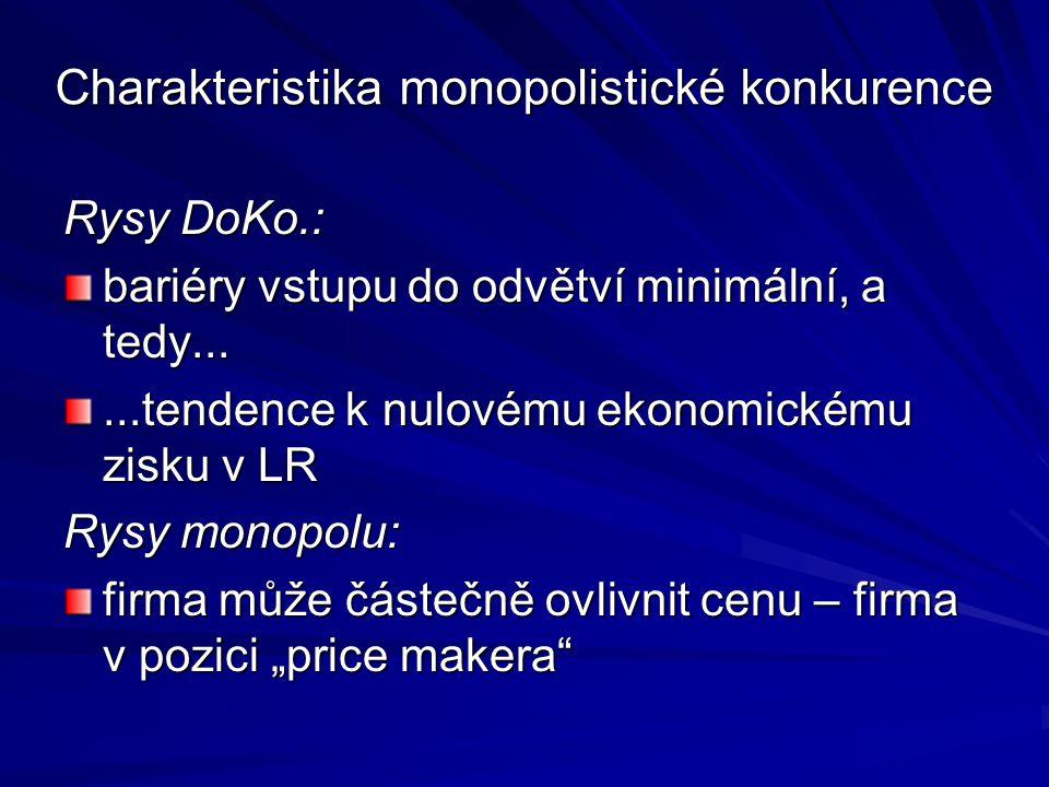 """Rysy DoKo.: bariéry vstupu do odvětví minimální, a tedy......tendence k nulovému ekonomickému zisku v LR Rysy monopolu: firma může částečně ovlivnit cenu – firma v pozici """"price makera Charakteristika monopolistické konkurence"""