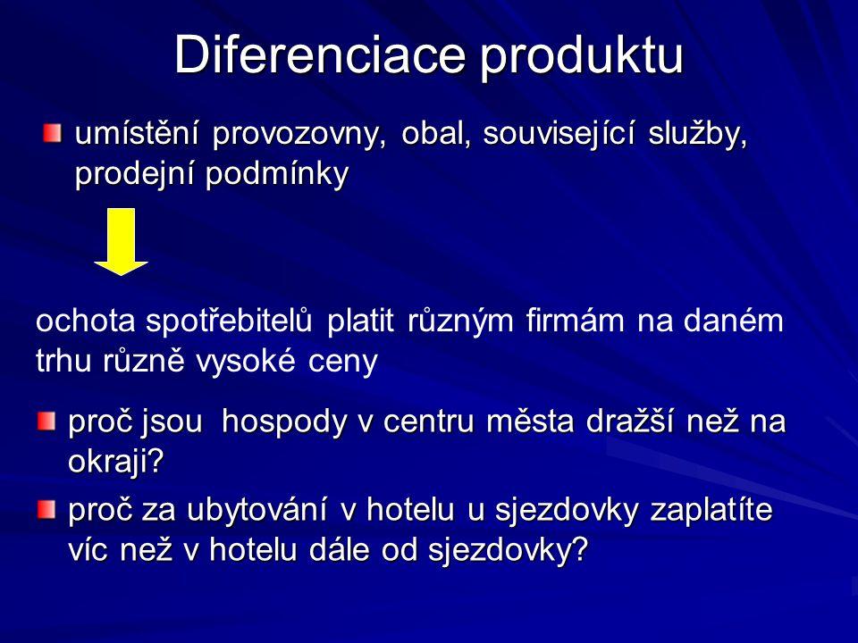 Rysy DoKo.: bariéry vstupu do odvětví minimální, a tedy......tendence k nulovému ekonomickému zisku v LR Rysy monopolu: firma může částečně ovlivnit c