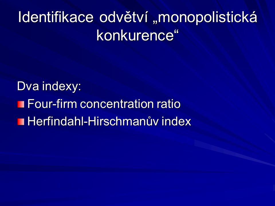 """Identifikace odvětví """"monopolistická konkurence Dva indexy: Four-firm concentration ratio Herfindahl-Hirschmanův index"""