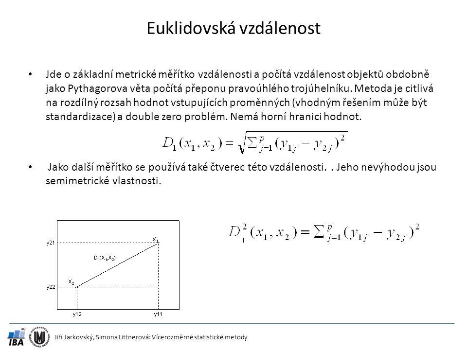 Jiří Jarkovský, Simona Littnerová: Vícerozměrné statistické metody Euklidovská vzdálenost Jde o základní metrické měřítko vzdálenosti a počítá vzdálen