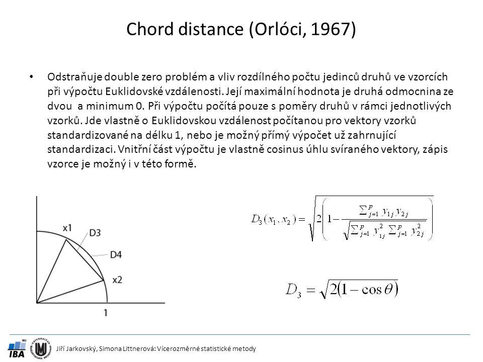Jiří Jarkovský, Simona Littnerová: Vícerozměrné statistické metody Chord distance (Orlóci, 1967) Odstraňuje double zero problém a vliv rozdílného počt