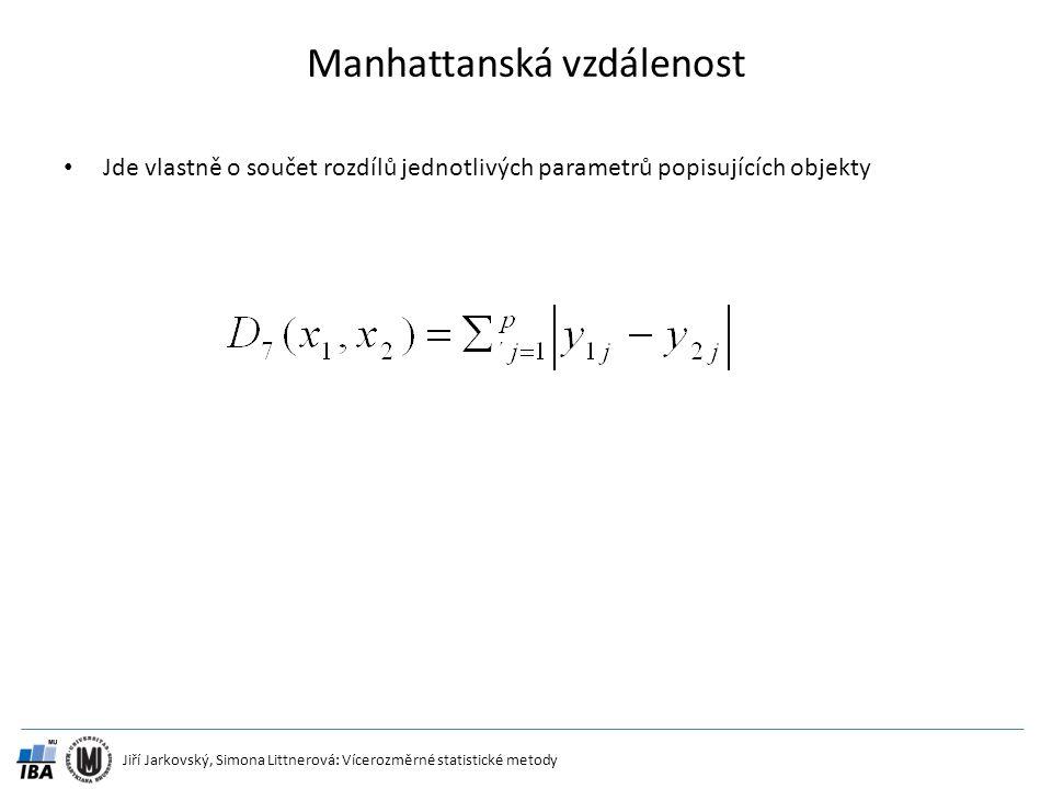 Jiří Jarkovský, Simona Littnerová: Vícerozměrné statistické metody Manhattanská vzdálenost Jde vlastně o součet rozdílů jednotlivých parametrů popisuj