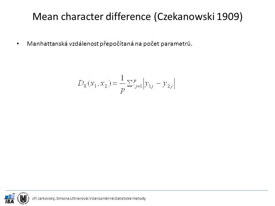 Jiří Jarkovský, Simona Littnerová: Vícerozměrné statistické metody Mean character difference (Czekanowski 1909) Manhattanská vzdálenost přepočítaná na