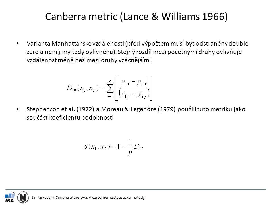 Jiří Jarkovský, Simona Littnerová: Vícerozměrné statistické metody Canberra metric (Lance & Williams 1966) Varianta Manhattanské vzdálenosti (před výp