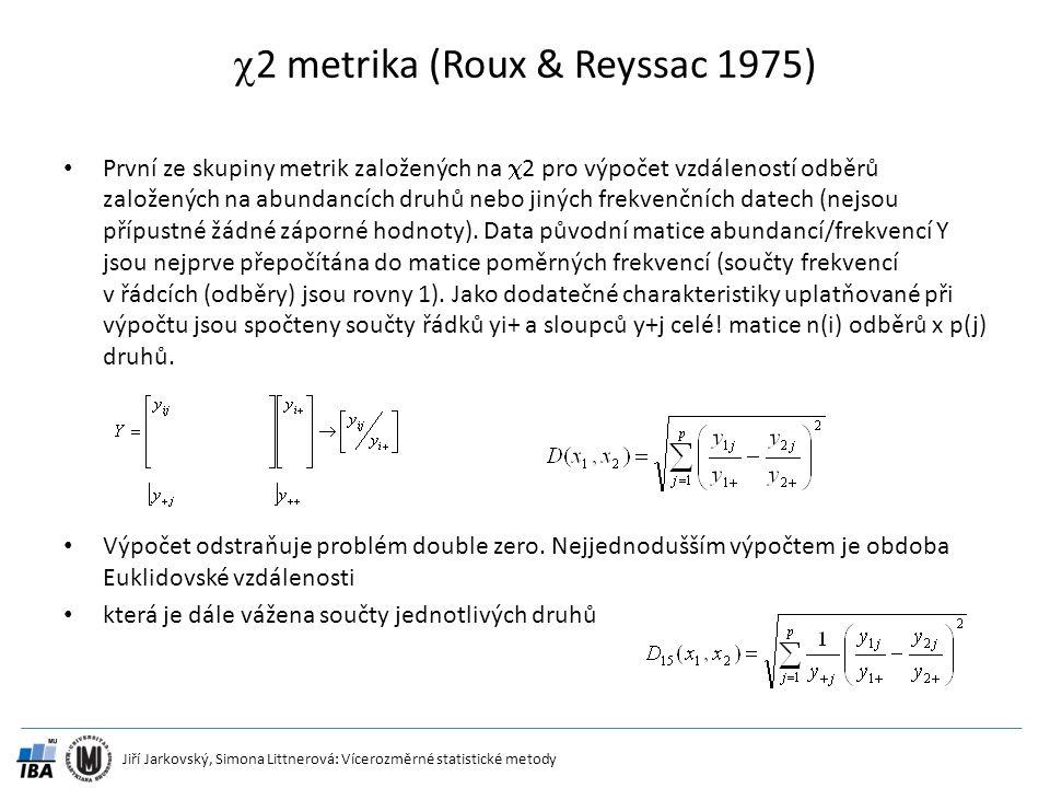 Jiří Jarkovský, Simona Littnerová: Vícerozměrné statistické metody  2 metrika (Roux & Reyssac 1975) První ze skupiny metrik založených na  2 pro výp