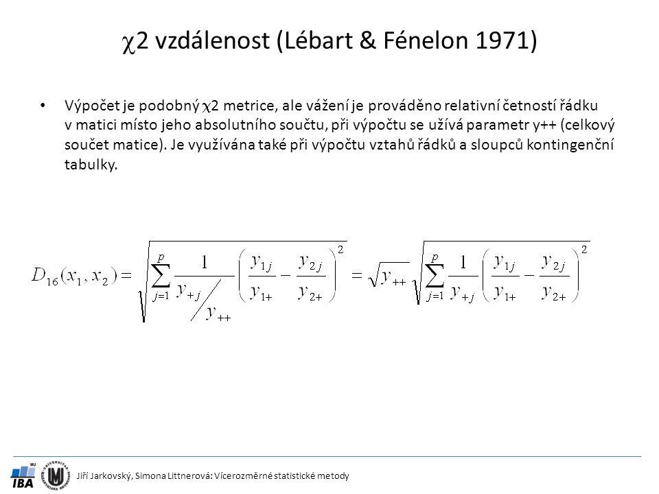 Jiří Jarkovský, Simona Littnerová: Vícerozměrné statistické metody  2 vzdálenost (Lébart & Fénelon 1971) Výpočet je podobný  2 metrice, ale vážení j