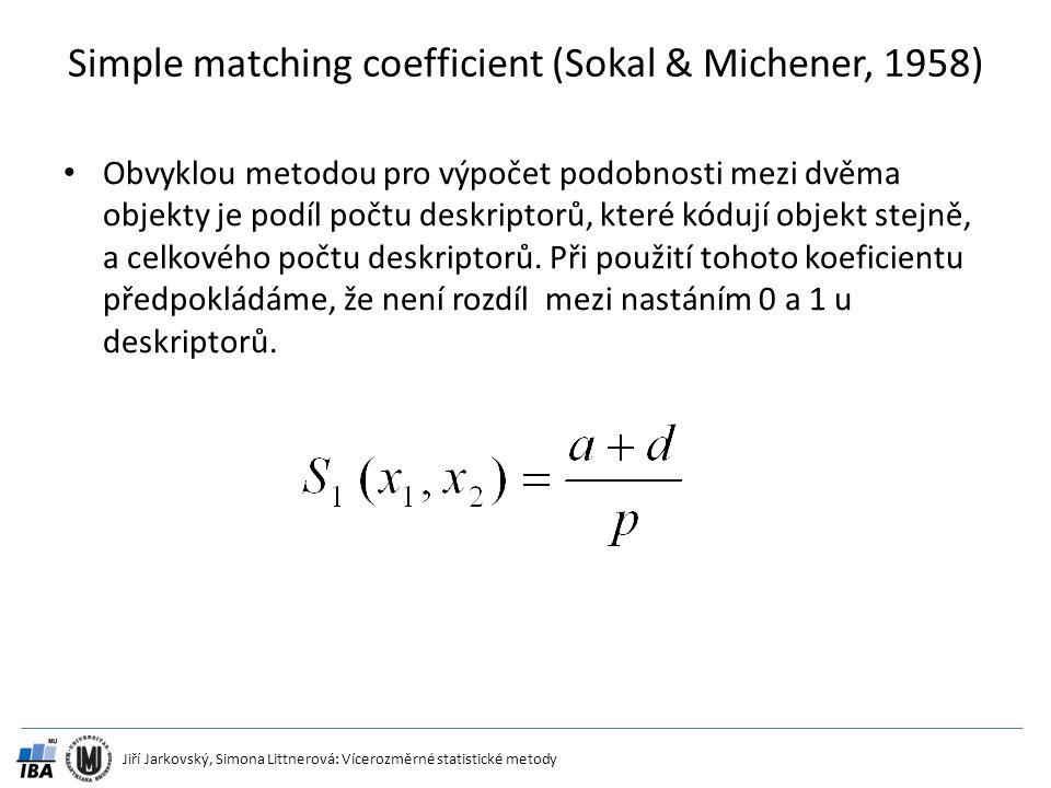 Jiří Jarkovský, Simona Littnerová: Vícerozměrné statistické metody Simple matching coefficient (Sokal & Michener, 1958) Obvyklou metodou pro výpočet p