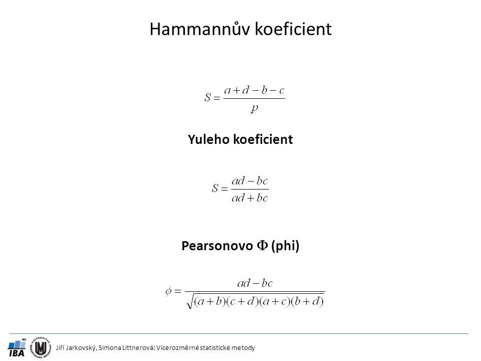 Jiří Jarkovský, Simona Littnerová: Vícerozměrné statistické metody Hammannův koeficient Yuleho koeficient Pearsonovo  (phi)