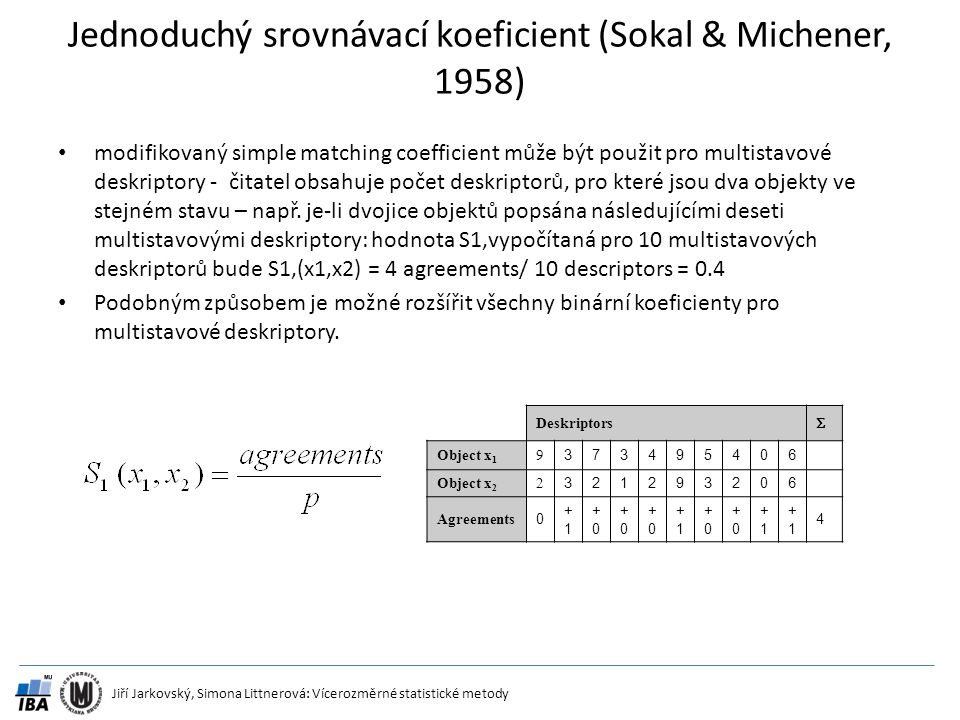 Jiří Jarkovský, Simona Littnerová: Vícerozměrné statistické metody Jednoduchý srovnávací koeficient (Sokal & Michener, 1958) modifikovaný simple match
