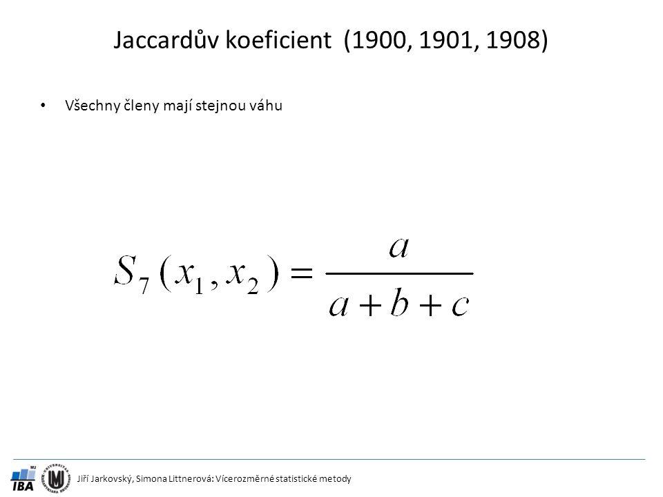 Jiří Jarkovský, Simona Littnerová: Vícerozměrné statistické metody Jaccardův koeficient (1900, 1901, 1908) Všechny členy mají stejnou váhu