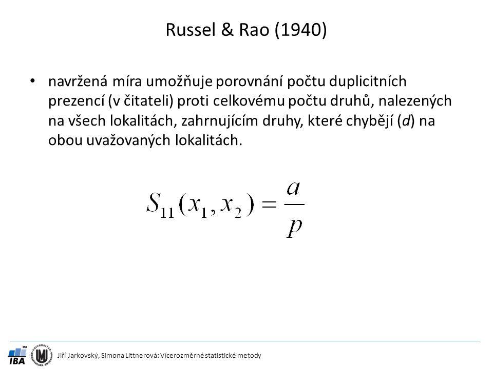 Jiří Jarkovský, Simona Littnerová: Vícerozměrné statistické metody Russel & Rao (1940) navržená míra umožňuje porovnání počtu duplicitních prezencí (v