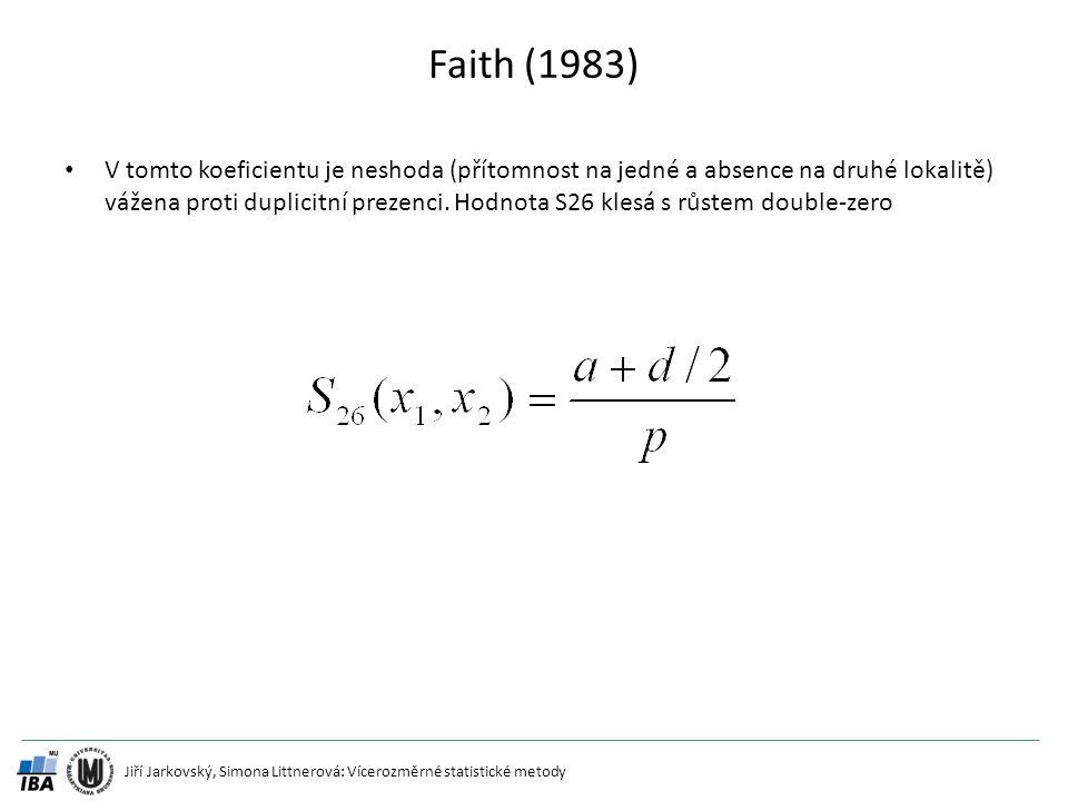 Jiří Jarkovský, Simona Littnerová: Vícerozměrné statistické metody Faith (1983) V tomto koeficientu je neshoda (přítomnost na jedné a absence na druhé