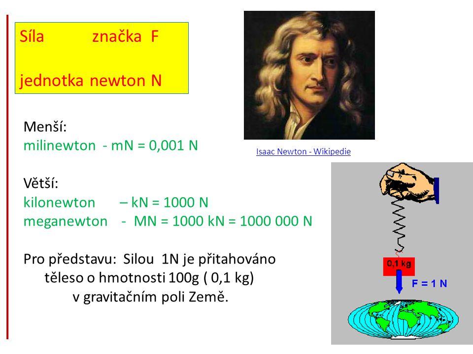 Síla značka F jednotka newton N Isaac Newton - Wikipedie Menší: milinewton - mN = 0,001 N Větší: kilonewton – kN = 1000 N meganewton - MN = 1000 kN =