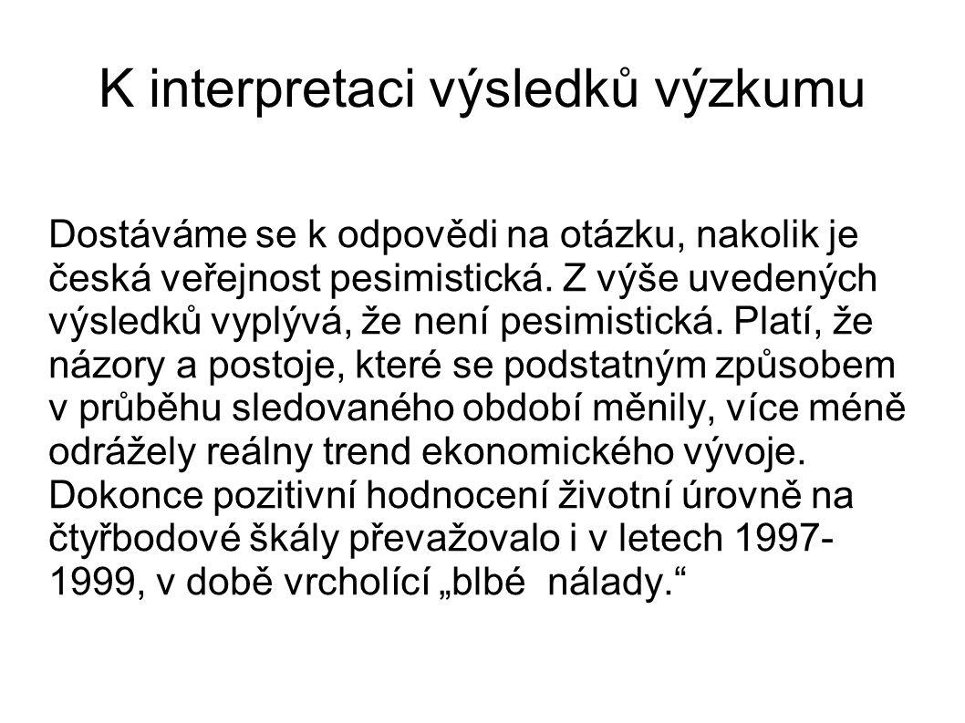 K interpretaci výsledků výzkumu Dostáváme se k odpovědi na otázku, nakolik je česká veřejnost pesimistická.