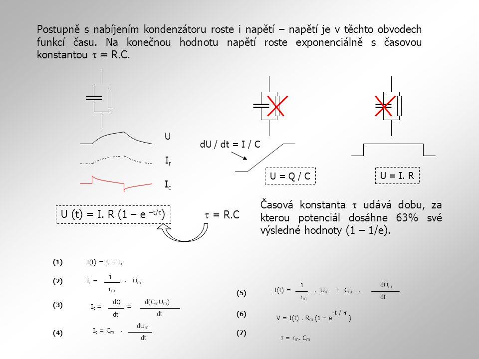 Postupně s nabíjením kondenzátoru roste i napětí – napětí je v těchto obvodech funkcí času. Na konečnou hodnotu napětí roste exponenciálně s časovou k