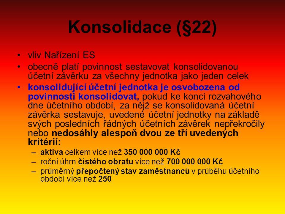 Konsolidace (§22) vliv Nařízení ES obecně platí povinnost sestavovat konsolidovanou účetní závěrku za všechny jednotka jako jeden celek konsolidující