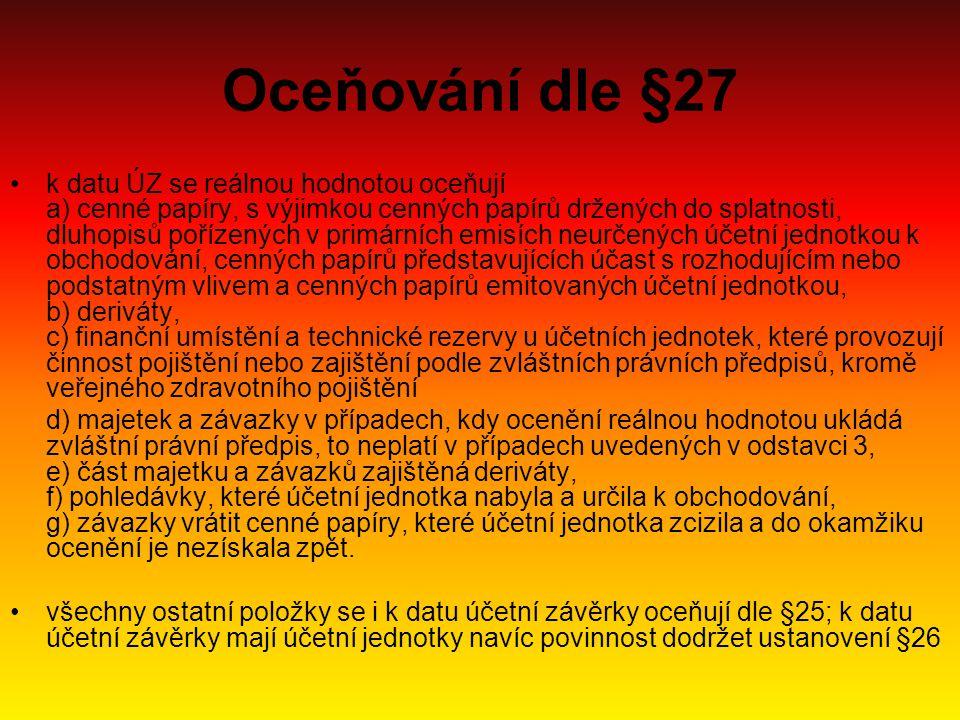 Oceňování dle §27 k datu ÚZ se reálnou hodnotou oceňují a) cenné papíry, s výjimkou cenných papírů držených do splatnosti, dluhopisů pořízených v prim