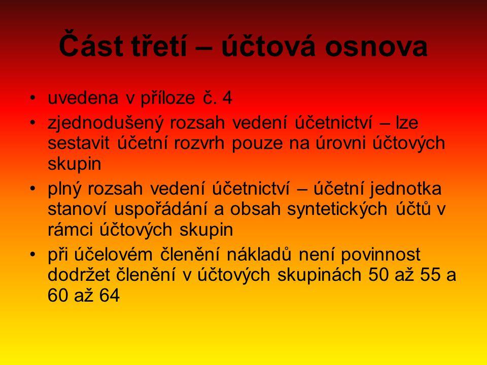 Část třetí – účtová osnova uvedena v příloze č.