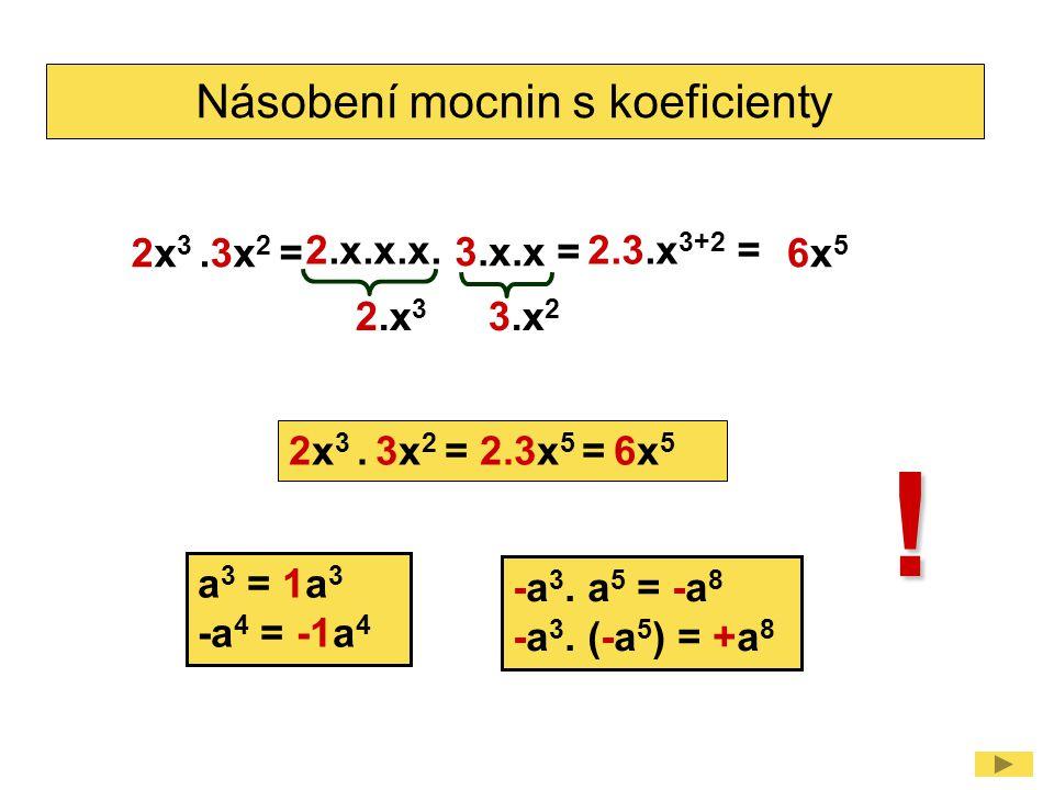 Násobení mocnin s koeficienty 2x 3.3x 2 = 2.x 3 6x56x5 2.x.x.x.