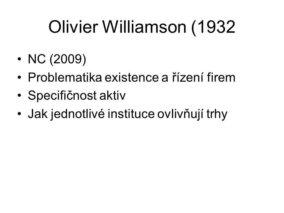 Olivier Williamson (1932 NC (2009) Problematika existence a řízení firem Specifičnost aktiv Jak jednotlivé instituce ovlivňují trhy