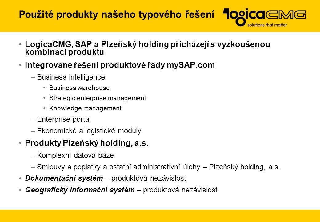 Použité produkty našeho typového řešení LogicaCMG, SAP a Plzeňský holding přicházejí s vyzkoušenou kombinací produktů Integrované řešení produktové řa