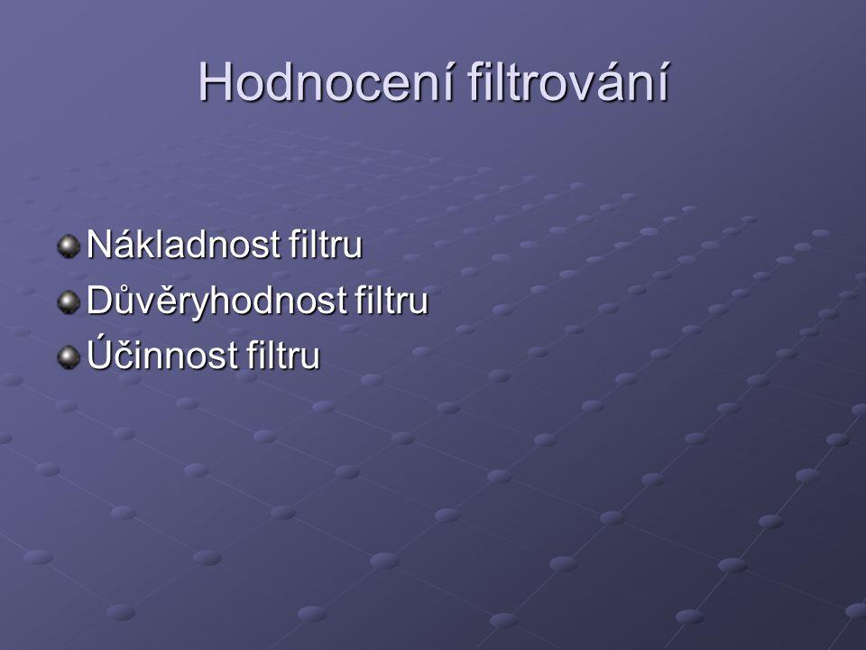 Hodnocení filtrování Nákladnost filtru Důvěryhodnost filtru Účinnost filtru