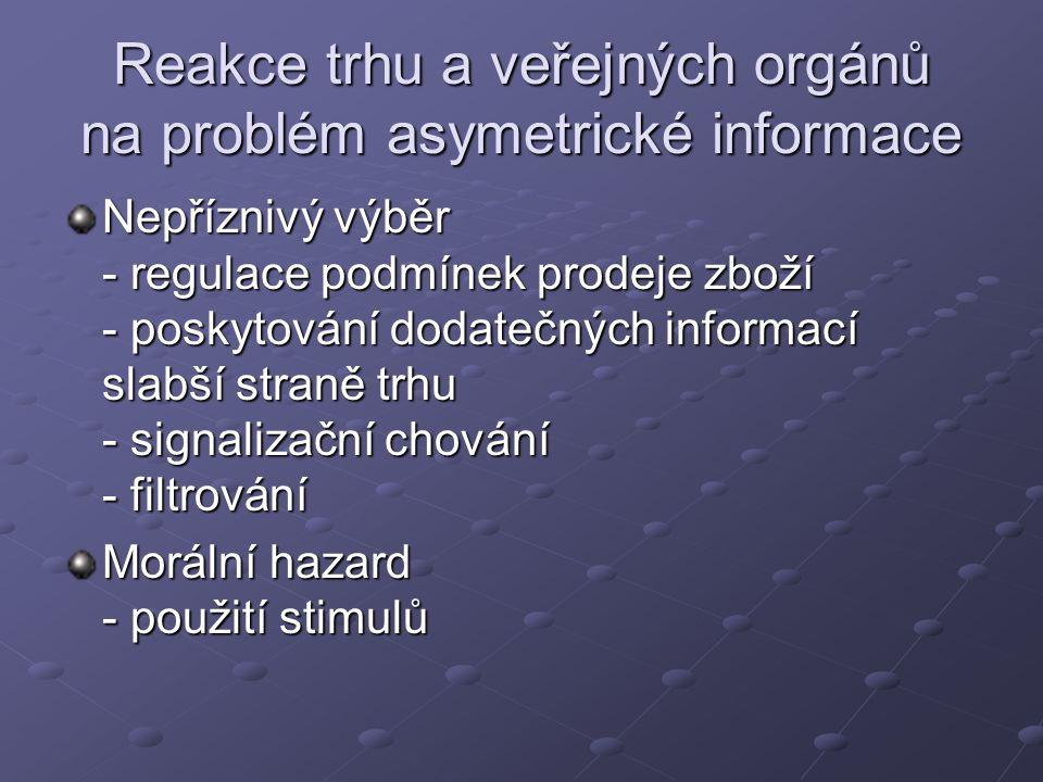 Reakce trhu a veřejných orgánů na problém asymetrické informace Nepříznivý výběr - regulace podmínek prodeje zboží - poskytování dodatečných informací slabší straně trhu - signalizační chování - filtrování Morální hazard - použití stimulů