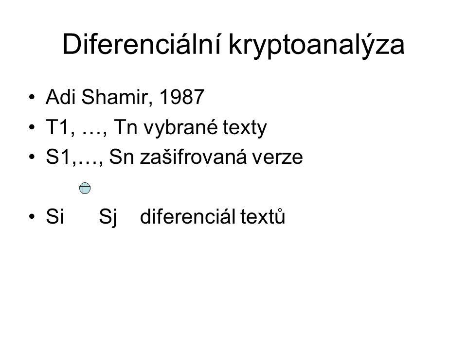Diferenciální kryptoanalýza, příklad Feistlův systém, délka bloku 4, 2 funkce – 1234 → 1114 – 1234 → 2223 Text 0001 1110 –m0 = 0001, m1 = 1110 –m2 = m0 + f1(m1) = 0001 + 1110 = 1111 –m3 = m1 + f2(m2) = 1110 + 1111 = 0001 Šifrovaný text 11110001 Diferenciál 1110 1111