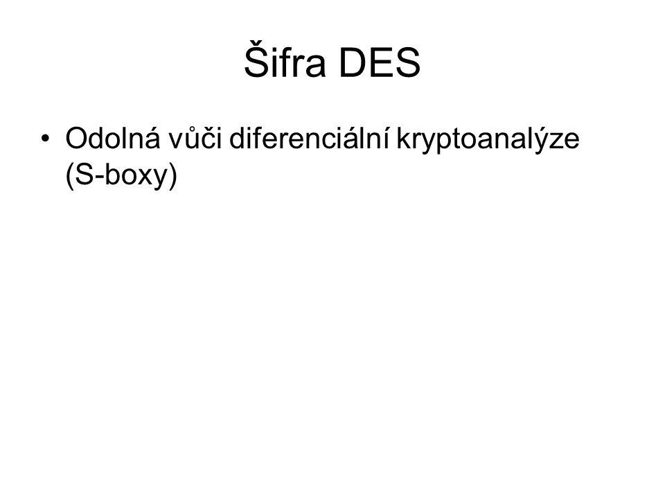 Šifra DES Odolná vůči diferenciální kryptoanalýze (S-boxy)