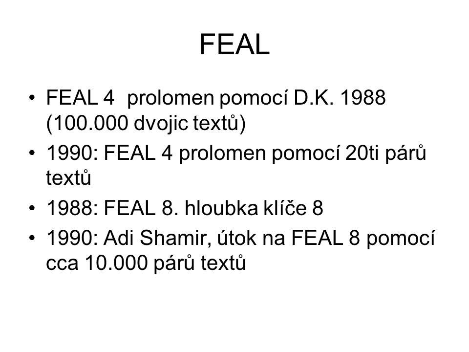FEAL 1990: – FEAL- N volitelná hloubka klíče – FEAL – NX, volitelná hloubka klíče, délka bloku 128 bitů 1992: Adi Shamir, popis útoku na FEAL N pro N<31,