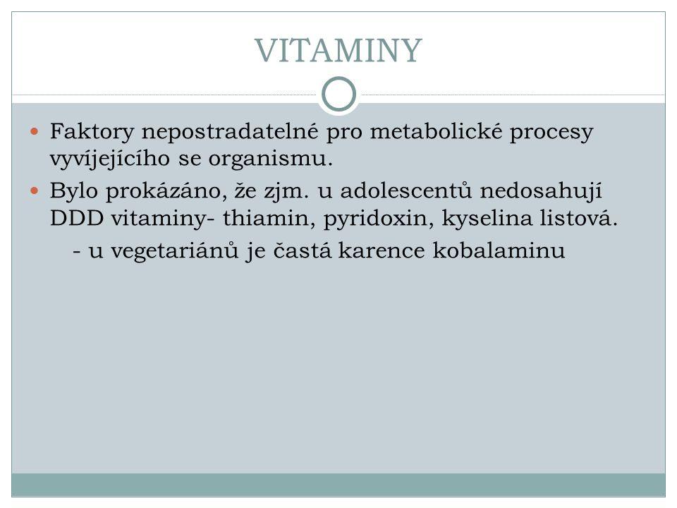 VITAMINY Faktory nepostradatelné pro metabolické procesy vyvíjejícího se organismu.