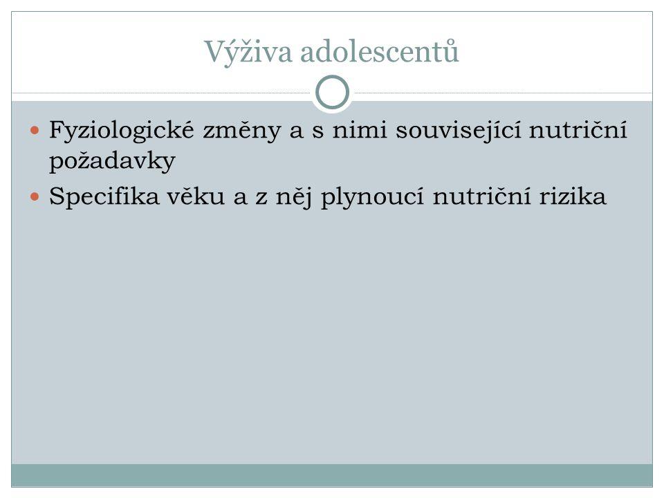 Výživa adolescentů Fyziologické změny a s nimi související nutriční požadavky Specifika věku a z něj plynoucí nutriční rizika